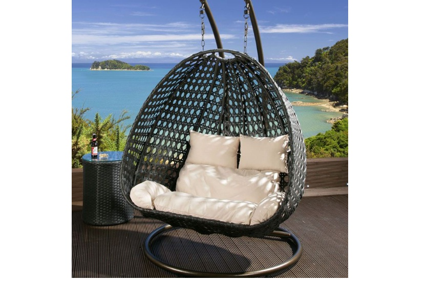 Double rattan swing chair
