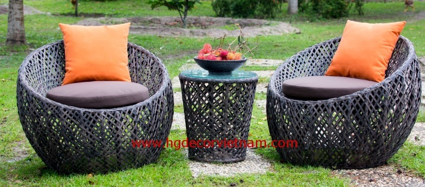 Poly rattan balcony set