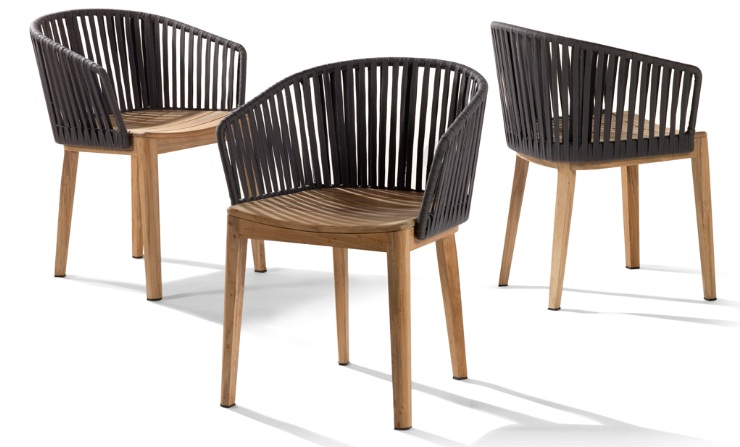 Rattan dining chair with teak wood frame