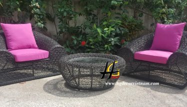 Poly rattan lounge set